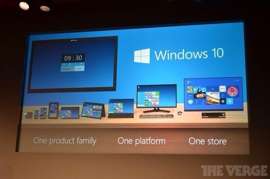 微软发布全新统一化系统Windows10